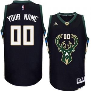 Maillot NBA Noir Authentic Personnalisé Milwaukee Bucks Alternate Homme Adidas