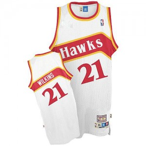 Maillot NBA Atlanta Hawks #21 Dominique Wilkins Blanc Adidas Authentic Throwback - Homme