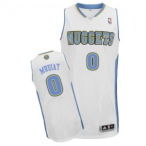 Maillot Adidas Blanc Home Authentic Denver Nuggets - Emmanuel Mudiay #0 - Homme