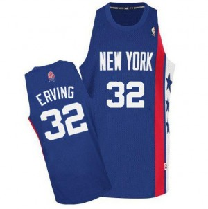 Maillot NBA Brooklyn Nets #32 Julius Erving Bleu Adidas Authentic ABA Retro Throwback - Homme