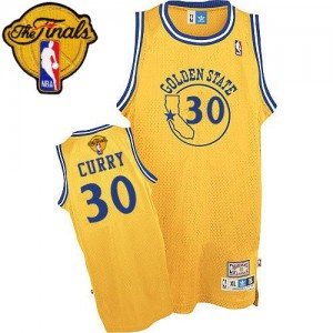 Golden State Warriors #30 Adidas New Throwback 2015 The Finals Patch Or Authentic Maillot d'équipe de NBA 100% authentique - Stephen Curry pour Homme
