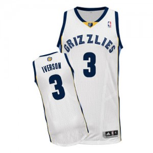 Maillot Authentic Memphis Grizzlies NBA Home Blanc - #3 Allen Iverson - Homme