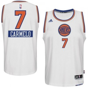 Maillot NBA Authentic Carmelo Anthony #7 New York Knicks 2014-15 Christmas Day Blanc - Homme
