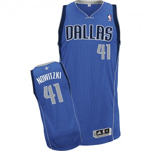 Maillot NBA Dallas Mavericks #41 Dirk Nowitzki Bleu royal Adidas Authentic Road - Enfants