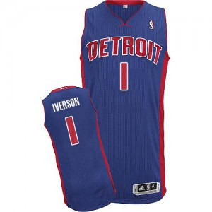 Maillot NBA Bleu royal Allen Iverson #1 Detroit Pistons Road Authentic Homme Adidas