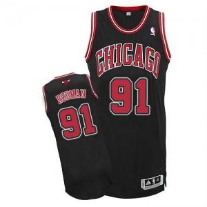 Maillot Adidas Noir Alternate Authentic Chicago Bulls - Dennis Rodman #91 - Homme