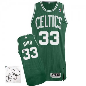 Maillot NBA Vert (No Blanc) Larry Bird #33 Boston Celtics Road Autographed Authentic Homme Adidas