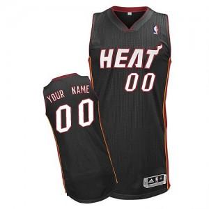 Miami Heat Authentic Personnalisé Road Maillot d'équipe de NBA - Noir pour Enfants