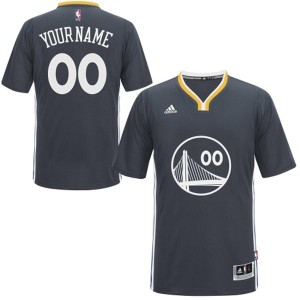 Golden State Warriors Authentic Personnalisé Alternate Maillot d'équipe de NBA - Noir pour Enfants