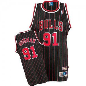 Chicago Bulls Dennis Rodman #91 Throwback Authentic Maillot d'équipe de NBA - Noir Rouge pour Homme