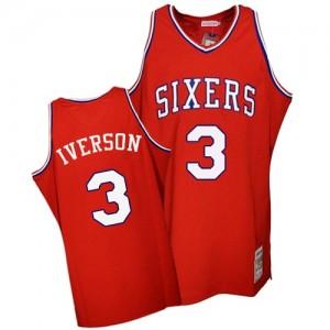 Philadelphia 76ers Mitchell and Ness Allen Iverson #3 Throwback Authentic Maillot d'équipe de NBA - Rouge pour Homme
