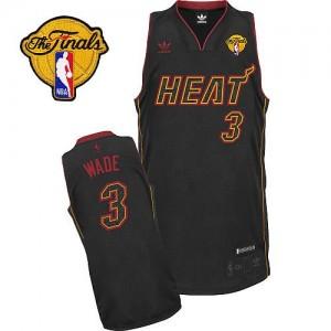 Maillot NBA Miami Heat #3 Dwyane Wade Fibre de carbone noire Adidas Swingman Fashion Finals Patch - Homme