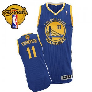 Golden State Warriors Klay Thompson #11 Road 2015 The Finals Patch Authentic Maillot d'équipe de NBA - Bleu royal pour Homme