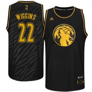 Minnesota Timberwolves #22 Adidas Precious Metals Fashion Noir Swingman Maillot d'équipe de NBA Soldes discount - Andrew Wiggins pour Homme