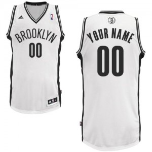 Maillot Adidas Blanc Home Brooklyn Nets - Swingman Personnalisé - Homme