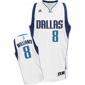 Maillot NBA Dallas Mavericks #8 Deron Williams Blanc Adidas Swingman Home - Femme