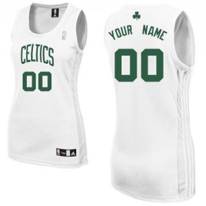 Maillot NBA Boston Celtics Personnalisé Authentic Blanc Adidas Home - Femme