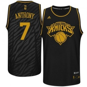 Maillot Adidas Noir Precious Metals Fashion Authentic New York Knicks - Carmelo Anthony #7 - Homme