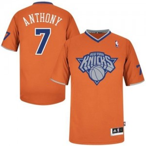 New York Knicks Carmelo Anthony #7 2013 Christmas Day Authentic Maillot d'équipe de NBA - Orange pour Homme
