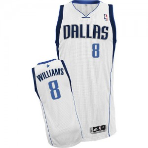 Maillot NBA Dallas Mavericks #8 Deron Williams Blanc Adidas Authentic Home - Homme