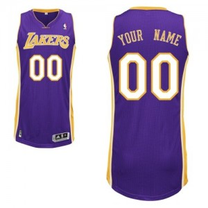 Maillot NBA Los Angeles Lakers Personnalisé Authentic Violet Adidas Road - Enfants
