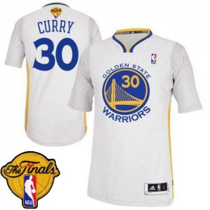 Maillot NBA Blanc Stephen Curry #30 Golden State Warriors Alternate 2015 The Finals Patch Authentic Homme Adidas