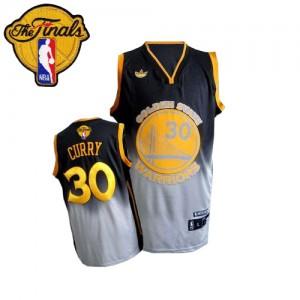 Maillot NBA Swingman Stephen Curry #30 Golden State Warriors Fadeaway Fashion 2015 The Finals Patch Gris noir - Homme