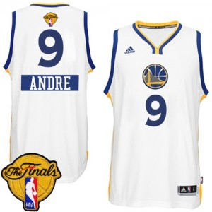 Maillot NBA Authentic Andre Iguodala #9 Golden State Warriors 2014-15 Christmas Day 2015 The Finals Patch Blanc - Homme