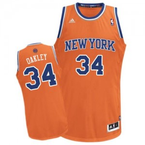 New York Knicks #34 Adidas Alternate Orange Swingman Maillot d'équipe de NBA la vente - Charles Oakley pour Homme