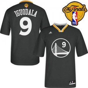 Maillot NBA Golden State Warriors #9 Andre Iguodala Noir Adidas Authentic Alternate 2015 The Finals Patch - Homme