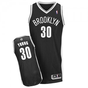 Brooklyn Nets Thaddeus Young #30 Road Authentic Maillot d'équipe de NBA - Noir pour Homme