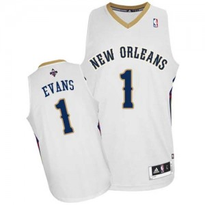 Maillot NBA Blanc Tyreke Evans #1 New Orleans Pelicans Home Authentic Homme Adidas