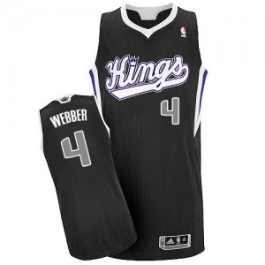Sacramento Kings #4 Adidas Alternate Noir Authentic Maillot d'équipe de NBA Remise - Chris Webber pour Homme