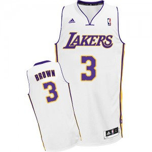 Maillot NBA Los Angeles Lakers #3 Anthony Brown Blanc Adidas Swingman Alternate - Homme
