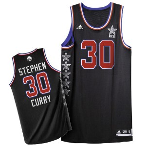 Maillot NBA Golden State Warriors #30 Stephen Curry Noir Adidas Authentic 2015 All Star - Homme