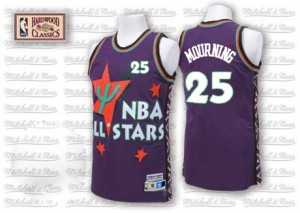 Maillot NBA Charlotte Hornets #25 Alonzo Mourning Violet Adidas Authentic Throwback 1995 All Star - Homme