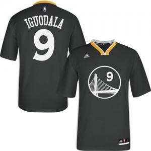 Maillot NBA Golden State Warriors #9 Andre Iguodala Noir Adidas Authentic Alternate - Homme