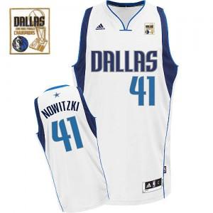 Maillot NBA Swingman Dirk Nowitzki #41 Dallas Mavericks Home Champions Patch Blanc - Homme