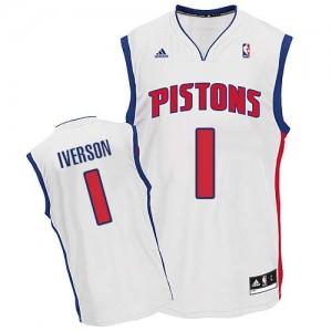 Detroit Pistons #1 Adidas Home Blanc Swingman Maillot d'équipe de NBA Prix d'usine - Allen Iverson pour Homme