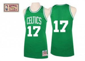 Boston Celtics Mitchell and Ness John Havlicek #17 Throwback Authentic Maillot d'équipe de NBA - Vert pour Homme