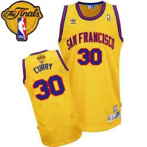 Maillot Swingman Golden State Warriors NBA Throwback San Francisco Day 2015 The Finals Patch Or - #30 Stephen Curry - Homme