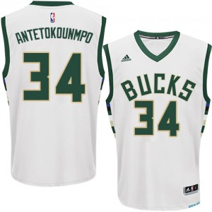 Maillot NBA Blanc Giannis Antetokounmpo #34 Milwaukee Bucks Home Authentic Homme Adidas