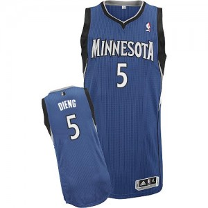 Maillot NBA Minnesota Timberwolves #5 Gorgui Dieng Slate Blue Adidas Authentic Road - Homme