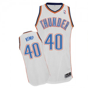 Maillot Adidas Blanc Home Authentic Oklahoma City Thunder - Shawn Kemp #40 - Homme