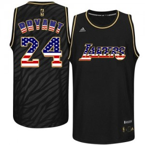 Maillot Authentic Los Angeles Lakers NBA USA Flag Fashion Noir - #24 Kobe Bryant - Homme