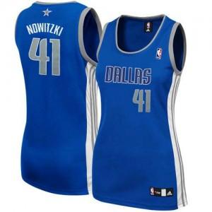 Maillot NBA Bleu marin Dirk Nowitzki #41 Dallas Mavericks Alternate Authentic Femme Adidas