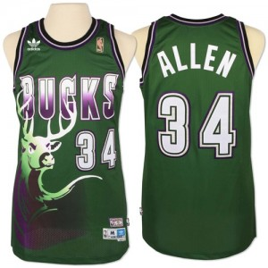 Maillot NBA Milwaukee Bucks #34 Giannis Antetokounmpo Vert Adidas Authentic New Throwback - Homme