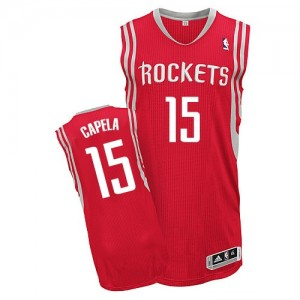 Maillot Adidas Rouge Road Authentic Houston Rockets - Clint Capela #15 - Homme