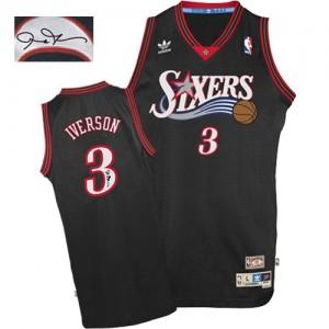 Philadelphia 76ers Allen Iverson #3 1997-2009 Throwback Autographed Authentic Maillot d'équipe de NBA - Noir pour Homme