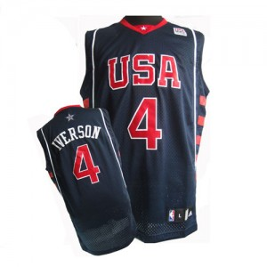 Maillot Nike Bleu marin Summer Olympics Authentic Team USA - Allen Iverson #4 - Homme